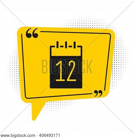 Black Calendar 12 June Icon Isolated On White Background. Russian Language 12 June Happy Russia Day.