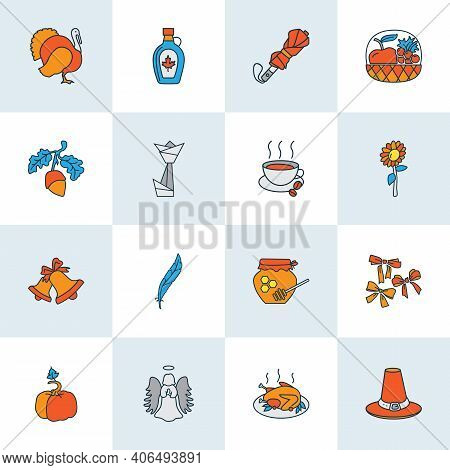 Thanksgiving Icons Colored Line Set With Festive Bow, Umbrella, Thanksgiving Hat And Other Halo Elem