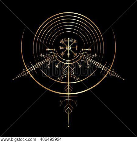 Gold Vegvisir Magic Navigation Compass Ancient. The Vikings Used Many Symbols In Accordance To Norse