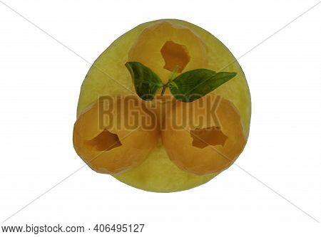 French Dessert Tart With Mayomgchid Fruit Closeup Isolated On White Background. Mayomgchid Tart Is O