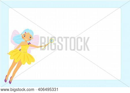 Beautiful Flying Fairy Character. Elf Princess With Magic Wand. Blue Frame Design For Photos, Childr