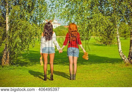 Portrait Of Couple Young Beautiful Women Enjoy Life. Women\'s Friendship As It Is. The Concept Of Fr