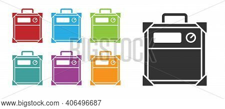 Black Guitar Amplifier Icon Isolated On White Background. Musical Instrument. Set Icons Colorful. Ve