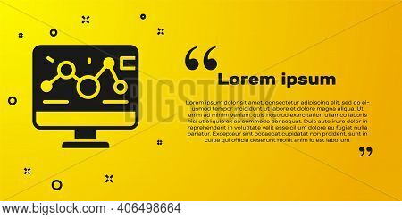 Black Genetic Engineering Modification On Laptop Icon Isolated On Yellow Background. Dna Analysis, G