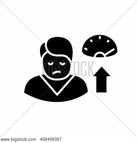 Weight Gain Glyph Icon. Sleep Disorder, Stress Symptom. Healthy Sleeping Concept. Metabolism Problem