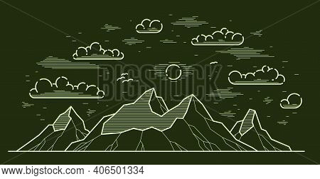 Mountains Range Linear Vector Illustration On Dark, Line Art Drawing Of Mountain Peaks Wilderness Wa