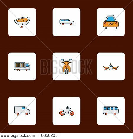 Transit Icons Colored Line Set With Van, Truck, Plane And Other Aircraft Elements. Isolated Illustra