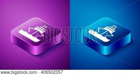 Isometric Cruise Ship Icon Isolated On Blue And Purple Background. Travel Tourism Nautical Transport