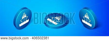 Isometric Cruise Ship Icon Isolated On Blue Background. Travel Tourism Nautical Transport. Voyage Pa