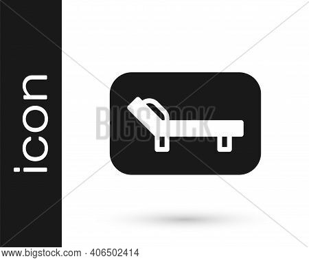 Black Sunbed Icon Isolated On White Background. Sun Lounger. Vector