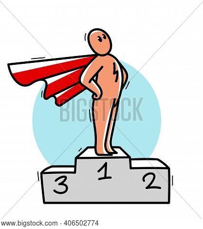 Funny Cartoon Man Standing Confident On A Pedestal With Coat Like A Superhero Vector Flat Style Illu