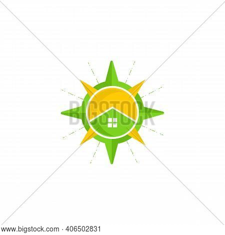 Compass Place Map Locator Or Search Logo Design Concept. House Inside Of Compass And Map Pointer Log
