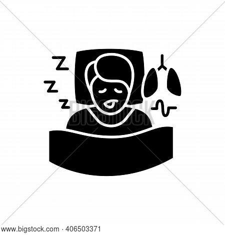 Sleep Study Glyph Icon. Unusual Breathing Patterns.sleep Disorder. Healthy Sleeping Concept.sleep Pr