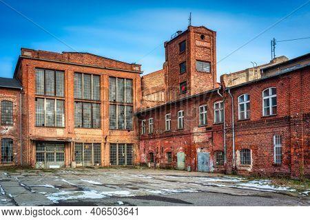 Ruins of a brick sugar factory in Pruszcz Gda?ski in winter, Poland