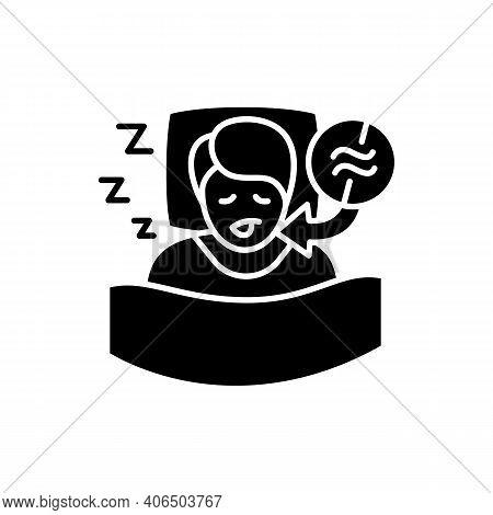 Apnea Glyph Icon. Sleep Disorder. Healthy Sleeping Concept. Sleep Problems Treatment. Breathing Trou
