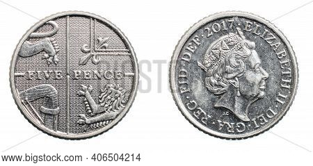 Five Pence Coin Isolated On White Background