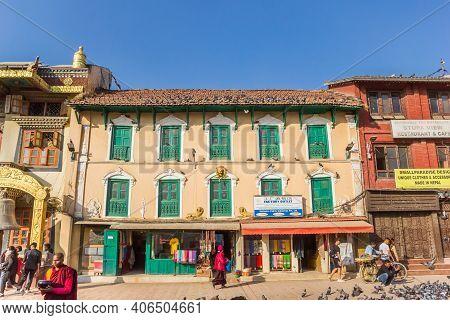 Kathmandu, Nepal - November 14, 2019: Shops At The Square Of The Boudhanath Stupa In Kathmandu, Nepa