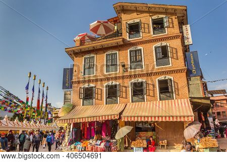 Kathmandu, Nepal - November 14, 2019: Colorful Shop At The Boudhanath Stupa In Kathmandu, Nepal
