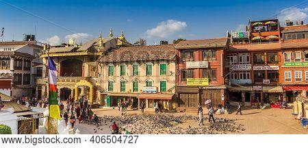 Kathmandu, Nepal - November 14, 2019: Panorama Of Colorful Houses At The Boudhanath Stupa In Kathman
