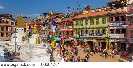 Kathmandu, Nepal - November 14, 2019: Panorama Of Colorful Buildings Around The Boudhanath Stupa In