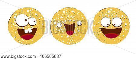 Pancake Character. Vector Illustration Isolated On White Background. Round Flapjack. Pancake Week. F