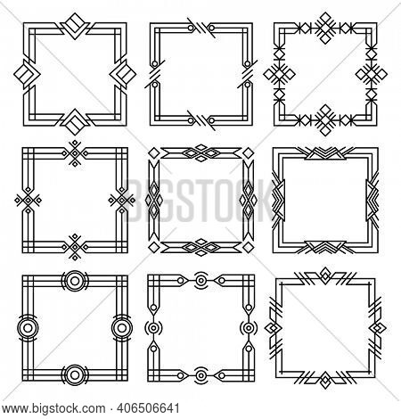 Borders dividers. Decorative black frames. Retro wedding frames, vintage rectangle ornaments and ornate border. Calligraphic design elements and page decoration