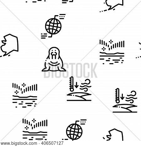 Arctic And Antarctic Seamless Pattern Vector Thin Line. Illustrations