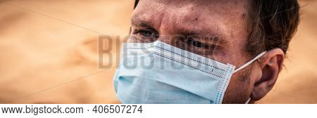 Banner Close-up Side Portrait Man Wear Protect Mask, Face Expression Emotion, Furrowed Brow Wrinkle