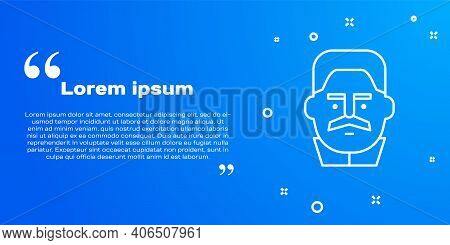 White Line Portrait Of Joseph Stalin Icon Isolated On Blue Background. Vector