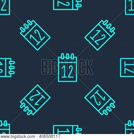 Green Line Calendar 12 June Icon Isolated Seamless Pattern On Blue Background. Russian Language 12 J
