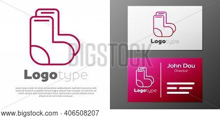 Logotype Line Valenki Icon Isolated On White Background. National Russian Winter Footwear. Tradition