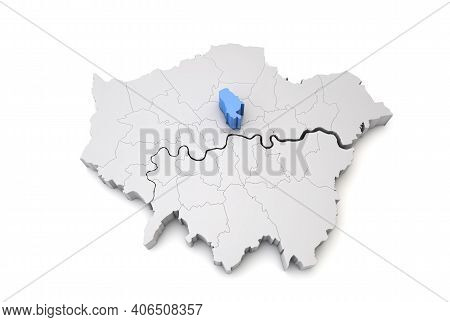 Greater London Map Showing Islington Borough In Blue. 3d Rendering