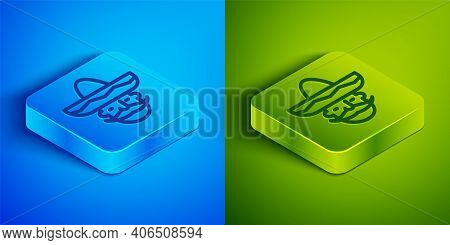 Isometric Line Mexican Man Wearing Sombrero Icon Isolated On Blue And Green Background. Hispanic Man