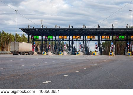 Truck Drives Through Exit Gate At Toll Road, Tver Region, 15.10.2020