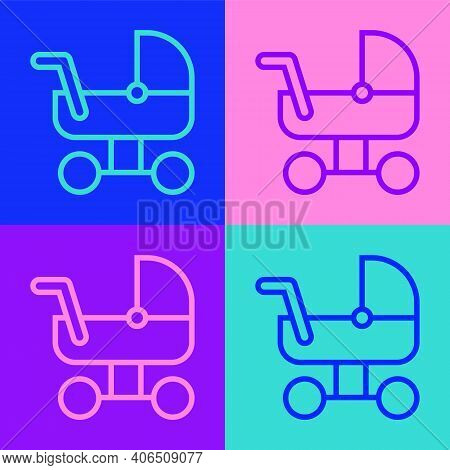 Pop Art Line Baby Stroller Icon Isolated On Color Background. Baby Carriage, Buggy, Pram, Stroller,