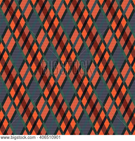 Seamless Rhombic Illustration Pattern As A Tartan Plaid Mainly In Muted Grey And Orange Hues With Gr
