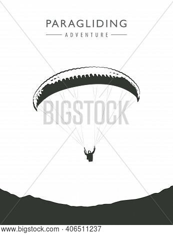 Paragliding Adventure Paraglider Silhouette Isolated On White Background Vector Illustration Eps10