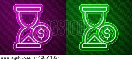 Glowing Neon Line Hourglass With Dollar Icon Isolated On Purple And Green Background. Money Time. Sa