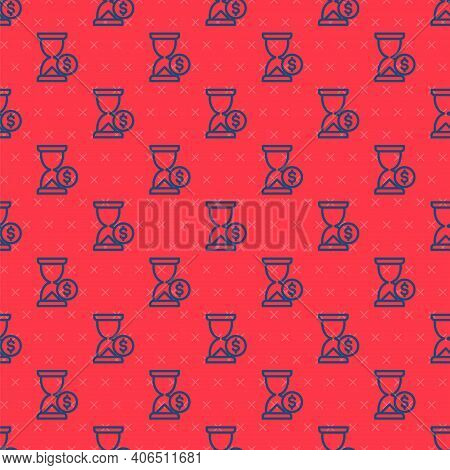 Blue Line Hourglass With Dollar Icon Isolated Seamless Pattern On Red Background. Money Time. Sandgl