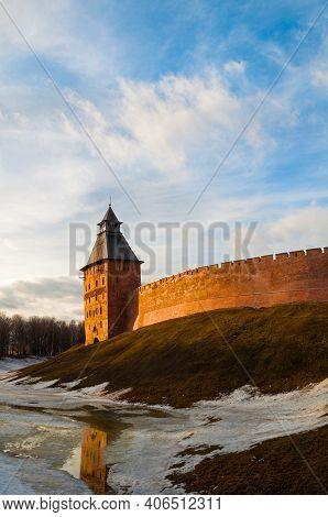 Veliky Novgorod, Russia, Savior Tower At Spring Sunset. Veliky Novgorod Kremlin Fortress In Spring E