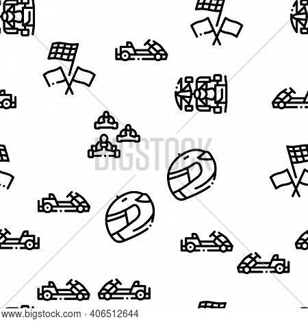 Karting Motorsport Seamless Pattern Vector Thin Line. Illustrations