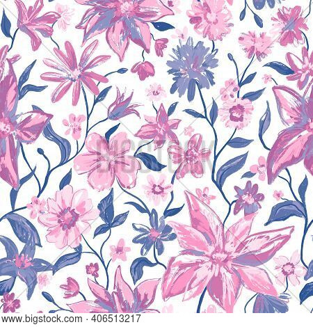 Floral Botanical Seamless Pattern With Colorful Flowers And Leaves In Pink Grey Colors. Feminine Col