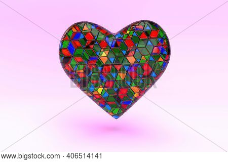 Glass Art Shaped Heart In Pink Background, 3d Render