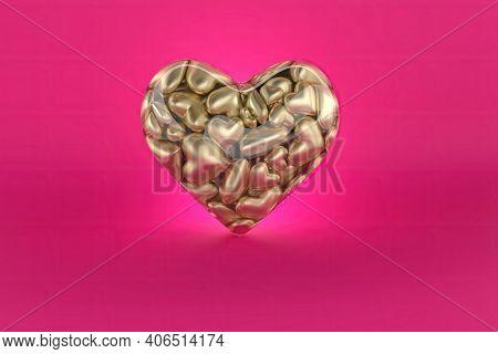 Small Shape Of Gold Heart Inside Big Heart, 3d Render