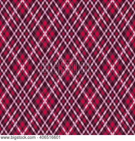 Detailed Rhomb Seamless Illustration Pattern As A Tartan Plaid Mainly In Red And Magenta Hues, Textu