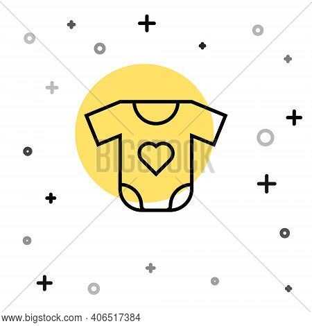 Black Line Baby Clothes Icon Isolated On White Background. Baby Clothing For Baby Girl And Boy. Baby