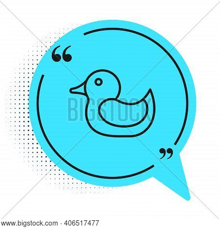 Black Line Rubber Duck Icon Isolated On White Background. Blue Speech Bubble Symbol. Vector