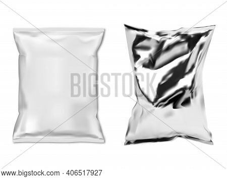 Foil Snack Bag. White Plastic Food Sachet Isolated Vector Blank. Snack Pouch Mock Up Template Design