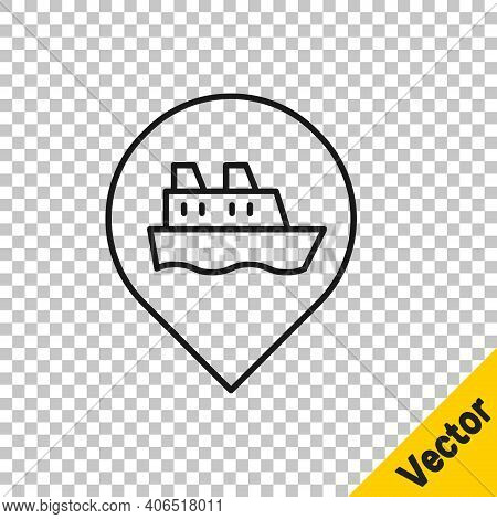 Black Line Location With Cruise Ship Icon Isolated On Transparent Background. Travel Tourism Nautica