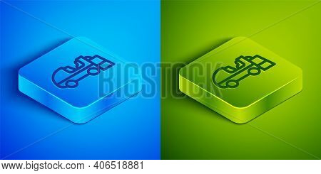 Isometric Line Ice Resurfacer Icon Isolated On Blue And Green Background. Ice Resurfacing Machine On